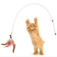 tasarım çanları toptan satış-Pet kedi oyuncak ile Sevimli Tasarım Çelik Tel Tüy Teaser Değnek bells Plastik Oyuncak kediler için Renk Çok Ürün Için pet Ürün