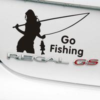 pegatinas de vinilo de pesca al por mayor-2018 más nuevo 14x9 cm ir pegatinas de coches de pesca, pegatina de estilo de vinilo de decoración para coches accesorios decoración