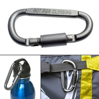 Wholesale d ring climbing carabiner - D-Shaped Camping Carabiner Aluminum Alloy Screw Dark grey Lock Hook Clip Key Ring Outdoor Camping Climbing Tools Accessories