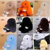Wholesale Rabbit Charms - DHL free women Cute Rabbit Fur Pom Pom Key Chain Women Trinket Rabbit Toy Doll Bag Car Key Ring bag charm Keychain Jewelry Gift