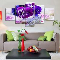 ingrosso tela di fiori viola-Nuovo arrivo Frameless 5 Panels Set Modern Purple Butterfly Orchid Flower Scenery Quadro contemporaneo Canvas Art Decor