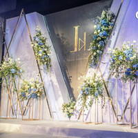 suportes de chão de flores venda por atacado-4 PCS Vasos de Chão Flores Vaso Coluna Stand Pilar De Metal Road Chumbo Centrais Do Casamento Evento Cremalheira Do Partido Decoração de Natal