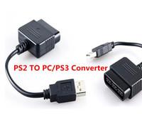 usb ps2 für pc großhandel-Hohe qualität Für Sony PS2 Play Station 2 Joypad GamePad zu PS3 PC USB Spiele Controller Adapter Konverter Stecker ohne Fahrer