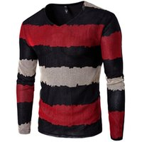 Wholesale mens v neck button pullover resale online - Fashion Size M xl Fashion Mens Sweaters Nice Autumn Newly Men s Pullovers Patchwork V neck Full Sleeved Mens Clothes Slim Fit t15