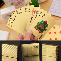 Wholesale gold foil poker cards - Stylish Waterproof 24K Gold Foil Plated Cover Poker 54 Playing Cards Table Game