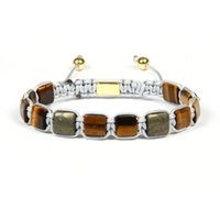 Wholesale geometric bracelets - New Design Gift Jewelry x8mm Natural A Grade Tiger Eye And Bronzite Square Stone Beads Geometric Braided Bracelet