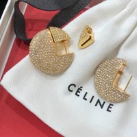 серьги с бриллиантами оптовых-2018 высокое качество фирменное наименование серьги с круглым кулоном и все алмаз в золоте plted ювелирные изделия для женщин Свадебные серьги ювелирные изделия gif