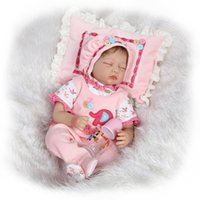 Wholesale Reborn Baby Girl Sleeping - Wholesale- Reborn Baby Doll Soft Silicone 22inch 55cm Magnetic Mouth Lovely Lifelike Cute Boy Girl Toy Sleeping Girl Doll