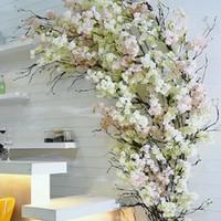 yapay çiçekler oturma odası toptan satış-Japon Sakura Yapay çiçek Centerpieces Dekor Sahte Kiraz Çiçekleri oryantal kiraz Ev Otel Oturma odası dekorasyon Için Dileğiyle Ağacı