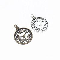 antiguo reloj de los encantos de bronce al por mayor-120 piezas Reloj de plata antiguo de bronce Reloj con dijes Encantos de aleación de zinc Dijes hechos a mano Colgantes Resultados de la joyería Y 40x30 mm