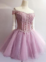 Wholesale sequin see cocktail dresses online - New Pink Short See Through Prom Dresses Mini Homecoming Dress For Teens Lace Appliques Squin Formal Dress Specials Cocktail Prom Gowns