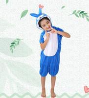 ingrosso coniglio di api-2018 Nuovo stile Bei bambini Cosplay Rosa maiale Abbigliamento coniglio bianco e blu Ragazzi e ragazze Danza Vestiti congiunti
