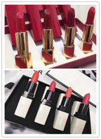 Wholesale lipstick color long lasting online - Hot Famous Luxury brand Makeup Matte Lipstick colors Red White tube Press matte lipstick set DHL shipping