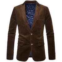 коричневые вельветовые костюмы мужские оптовых-Новый модный бренд мужской зимний деловой костюм куртка пальто ретро стиль Slim Fit вельветовый пиджак мужчины свободного покроя локоть дизайн черный коричневый