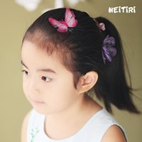 Wholesale lace butterfly hair accessories - 2018 HOT Baby Girl Sequin Butterfly Hairpin Children Hair Accessories Baby Hairbows Girl Hair Bows With Clip 3D butterfly clip A8316
