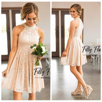 Wholesale dress black mini pearl - 2018 O-Neck Full Lace Short Bridesmaid Dresses Beaded With Pearls Collar Jewel Neck Zipper Back Western Maid of Honor Dresses Cheap