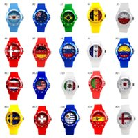 Wholesale fan pin - Logo Flag Sport Mens Watch 2018 World Football Cup Unisex Fan Watches Women Soccer Club Party Wrist Brazil Argentina Germany Portugal Spain
