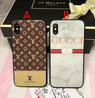 Wholesale print cases - Luxury brand printed English letters tempered glass phone case for iphone X 7 7plus TPU + PC hard cover for iphone 8 8plus