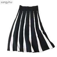 Mujeres europeas y americanas de la moda del algodón de la vendimia tejida plisada  falda de una línea Tutu largo mujeres faldas de otoño del invierno faldas e52bef772696
