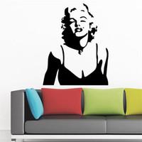 impressão de vinil de parede de vinil venda por atacado-Marilyn Monroe adesivo de papel decoração lábios vermelhos adesivos de parede Decalques de Decoração Para Casa decorativo sala adesivo de parede papel de parede