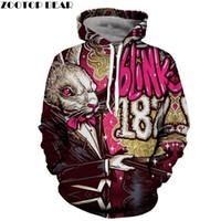 ingrosso mr hoodie-Mr. Rabbit 3D Hoodie Men Felpa con cappuccio Anime Felpa Groot Tuta Blink 182 Cappotto Harajuku Pullover Streatwear DropShip