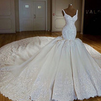 Wholesale sweetheart neckline puffy wedding dresses resale online - Mermaid Wedding Dresses Sweetheart Neckline Lace Appliques Beading Sequins Chapel Train Puffy Bridal Dresses Gowns
