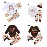 ingrosso vestiti i pantaloni del pagliaccetto-bambini Set da giorno del Ringraziamento set neonato feste da ragazzo bambino vestito con tacchino Completo stampato da zucca abiti pagliaccetto + pantaloni + berretti