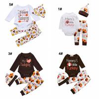 calças romper vestido venda por atacado-bebês Dia de Ação de Graças conjunto de roupas bebê recém-nascido menina menino férias vestido com peru Abóbora impressa roupas ternos romper + calça + bonés