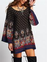 Wholesale shift dress wholesale - Wholesale 2018 Summer Ladies High Quality Rayon Beach Retro   Vintage Baroque Print Shift Dress for Women
