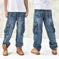 Wholesale jeans large hip hop - Hot New Large Size Jeans Fashion Loose Big Pockets Hip -Hop Casual Men Jeans Wide Leg Mens Designer Jeans Luxury Jean