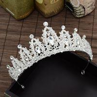 corona de quinceañera al por mayor-Cuentas de cristal Coronas de la boda Tocados nupciales Vendas de las mujeres Joyería de cristal Tiaras Fiesta al por mayor Quinceañera Cumpleaños Accesorios para el cabello