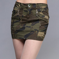 Wholesale Camo Mini Skirt - New Sexy Mini Skirt For Women Summer Fashion Style Mid Waist Army Green Skirts Female Pockets Camo Zipper Skirt Casual