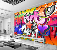 Wholesale personalized nursery art online - Personalized Customization D Colorful Graffiti Mural Wallpaper KTV Bar Clubs Background Wall Papers Creative Art Wallpaper Roll