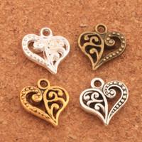 Wholesale diy for sale - 200pcs Flower Pattern Heart Charms Antique Silver Gold Bronze Pendants Jewelry DIY Fit Bracelets Necklace Earrings L919