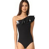 siyah bir omuz mayo toptan satış-2018 Yeni stiller Kadın moda Tek omuz Tek parça Yüzme suit Siyah kadınlar için seksi Bağcıklı Mayo Mayo S-XL, CH-YH100