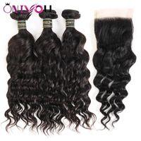 Wholesale sales human hair weave bundles closure for sale - Group buy Brazilian Water Weave Natural Wave Virgin Human Hair Weave Bundles and Closure Remy Human Hair Bundles Hot Sale Items