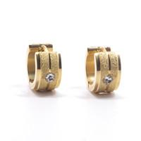 Wholesale indian silver earings - Silver Gold Color Hoop Earrings with Zircon 316L Stainless Steel Stud Earrings For Women Men Luxury Brand Jewelry Ear Frosted Stud Earings