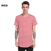 wear striped shirts 2018 - New Men Striped Printed Mens Longlines T Shirts Cotton Short Sleeve Crew Neck Homme High Street Wear Tops Tees