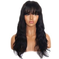 Wholesale glueless full lace wavy bangs wigs resale online - 150 Glueless Lace Front Human Hair Wigs With Bangs Remy Hair Wavy Brazilian Wig With Baby Hair Bleached Knots Inch