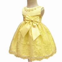 ingrosso abiti gialli per i bambini-Abiti infantili gialli del rivestimento del cotone della fabbrica all'ingrosso 2018 Nuovo vestito dal bambino di progettazione per l'abito del partito del bambino dell'arco di compleanno della ragazza di 1 anno