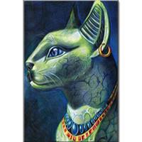 bild tuch großhandel-Großhandelsdiamant-Anstrich ägyptisches Katzenbild zum Tier Diamantmosaik-Kreuzstichhandarbeitbohrgerät-Tuchbohrerbild