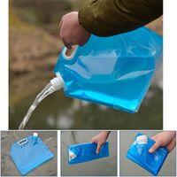 Wholesale lifting bag - Portable Camping Hiking 5L Folding Water Storage Lifting Bag Survival Outdoor Accessories Travel Kits Equipments LJJM44