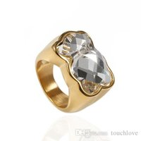 Wholesale glasses sp - TL stainless steel and glass ring two colours gold and silver plated precious style good qualityTL Stainless Steel Fashion Ring For Women Sp