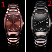 Wholesale women tungsten watch - Fashion all stainless steel men women watch rectangle dial display automatic quartz tungsten watches