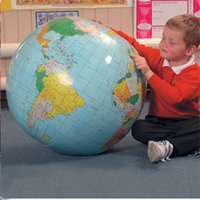 Wholesale world map high quality - High Quality PVC 40CM Earth Globe Inflatable Earth World Teach Education Toy Map Balloon Beach Ball For Children Education Playing Fun