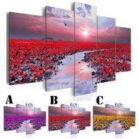 Wholesale art lotus oil painting resale online - Wall Art Picture Printed Oil Painting on Canvas No Frame set Home Decor Extra Mirror Border Lake and Water Lily Lotus