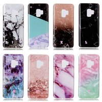 Wholesale Hybrid Flower Case - S9 Case Marble Rock Grain Soft TPU IMD For Samsung Galaxy S9 Plus Cover Flower Skull Hybrid Silicone Natural Stone Marmor Siliocne Gel Skin