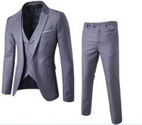blazers para homem venda por atacado-Mens Blazers Calças Colete Set 2018 Novos Homens de Três Peças Conjuntos Masculinos de Negócios Casuais Roupas Magros Blazers jaqueta calças colete terno
