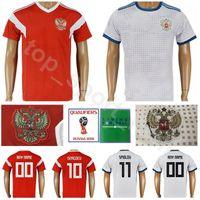 Wholesale flashing shirts - Men Soccer Russia Jersey 2018 World Cup 6 Cheryshev 9 Dzagoev Football Shirt Kits 10 Smolov 8 Gazinskiy 17 Golovin Home Custom Name Number