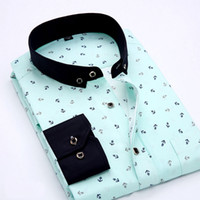polka dot kleid hemden für männer groihandel-Polyester Neue Frühling Männer Freizeithemden Mode Langarm Marke Taste-Up Formal Business Polka Dot Floral Männer Businesshemd Woll